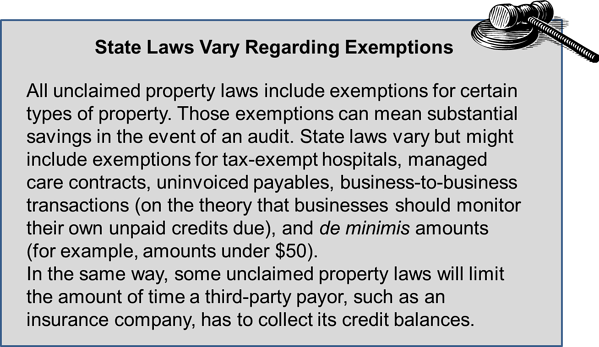 unclaimed property and hospitals