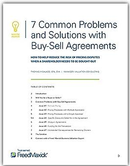 7 Common Problems and Solutions with Buy-Sell Agreements Freed Maxick COVER